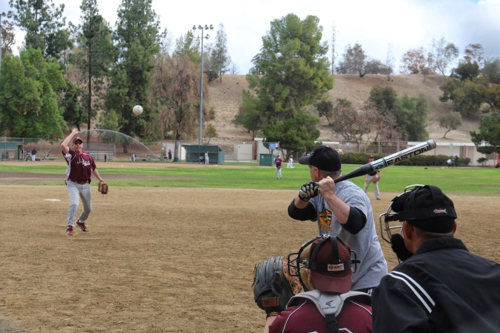 Judea pitcher Phil Silver delivers against AAE right fielder Lee Goldring, Feb. 9, 2014  Photo/Jeremy Oberstein
